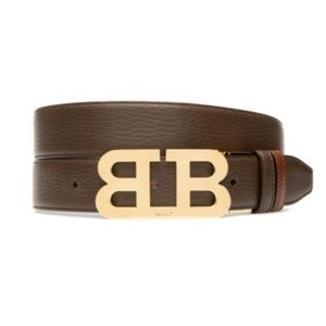 New Bally Mirror B Reversible Leather Gold Buckle